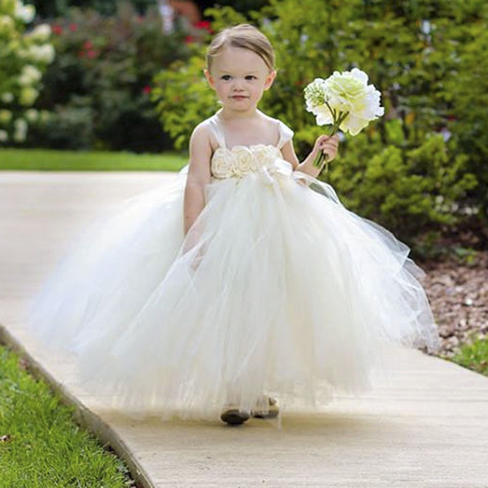 Flower Girls Dresses for Wedding Ivory  Children Ball Gown Pageant Party Flower girl dress 2-10Y GIRL Birthday Party ball gowns for children pageant teenage girls clothes top grade kids wedding dresses ivory beading diamond wedding dress