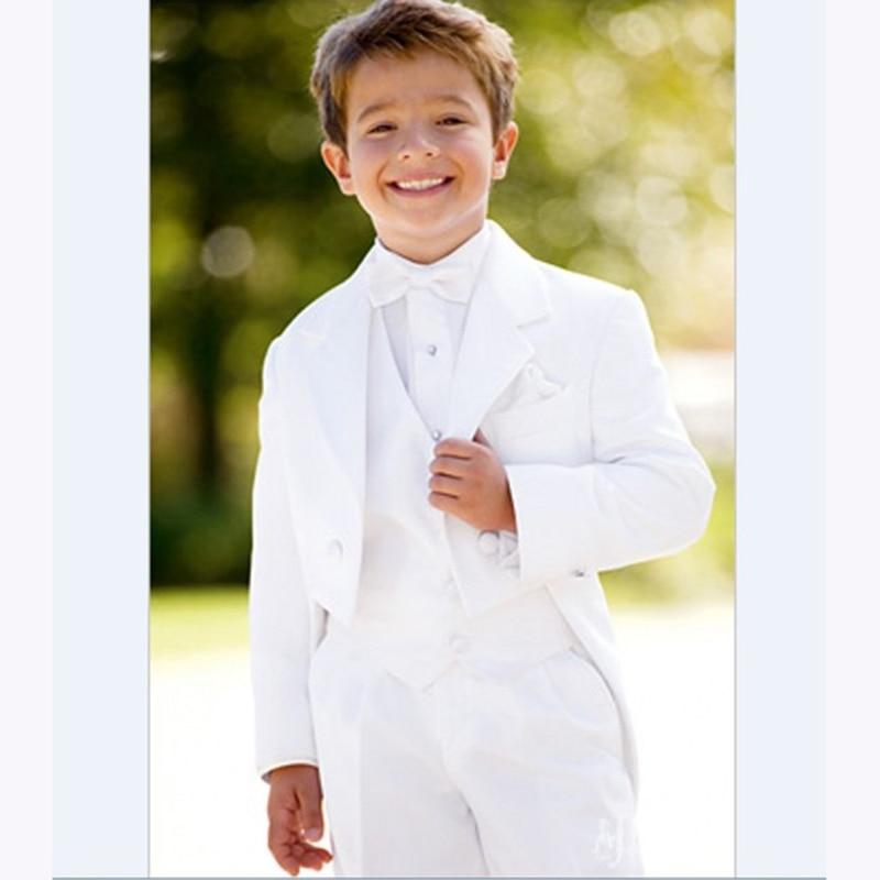 2017 New flower Boy blazer Tuxedo Notch Lapel Children Suits Sets White Kid Wedding Prom Suits for boys ( Jacket+Vest+Pants+Bow)