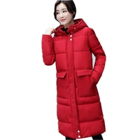 2017 Ladies Winter New Feather Cotton Coat Hooded Women Mid Length Korean Slim Was Thin Thick