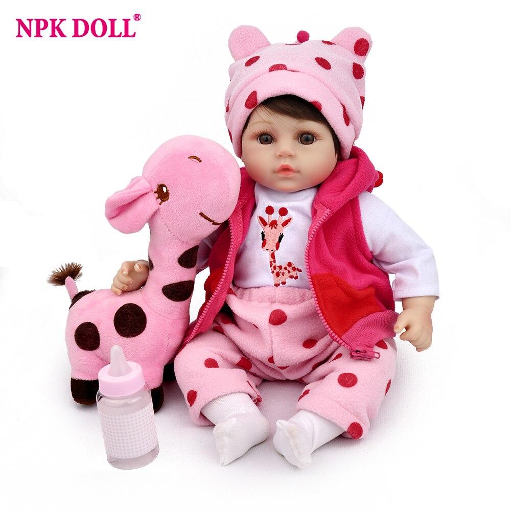 Reborn Baby Doll 45cm Soft Silicone 18 inch Pink Girls Plush Toys Kids Playmate Birthday Gift