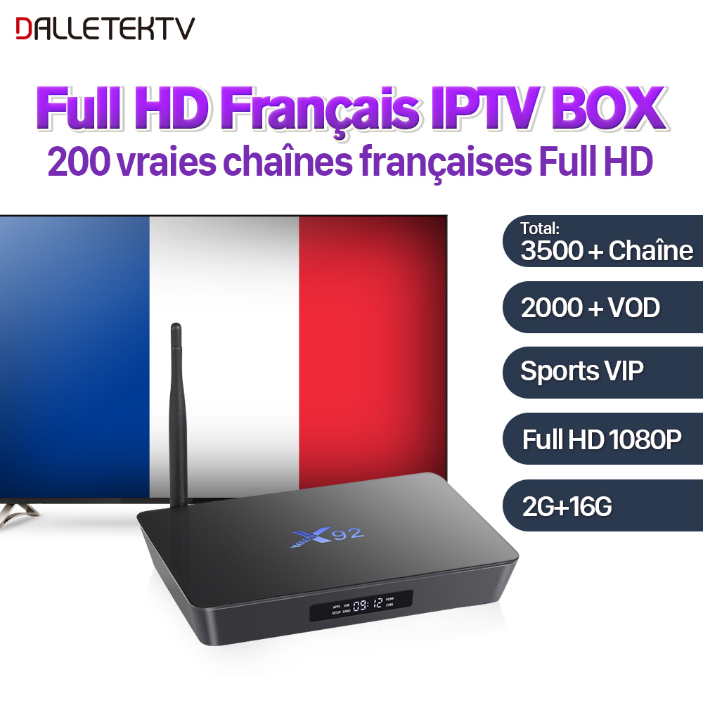 X92 Full HD French IPTV Box Android 7.1 2G 16G 1 Year SUBTV IPTV Subscription French Arabic IPTV Box VIP Sports Live VOD Movies x92 android iptv box s912 set top box 700 live arabic iptv europe french iptv subscription 1 year iptv account code