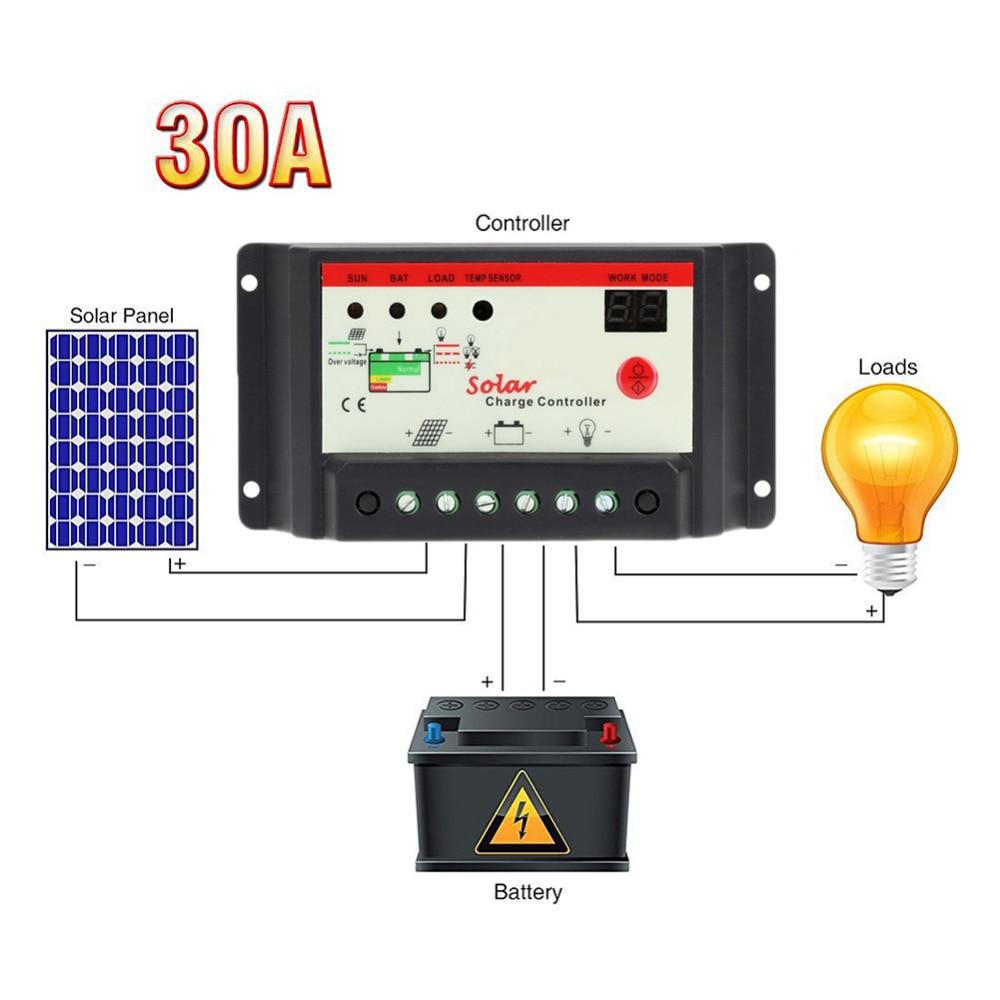 Solladdare LCD Tensione 10A 20A 30A 12 V / 24 V PWM Regolatore Solare - Reservdelar och tillbehör för mobiltelefoner - Foto 1