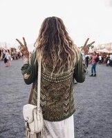 Хаки пантера Украшенные в стиле милитари крутой цветочной вышивкой и заклепками рубашка цвета хаки с карманами спереди зеленый пантера пал