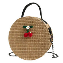 Vintage Round Straw Bags Women Summer Rattan Bag Handmade Woven Beach Cross Body Bag Circle Round Tote Bohemia Handbag Bali(China)