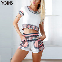 YOINS New 2016 Fashion Womens Printed Clothing Sets 1 Short Sleeve Crop Top 1 Short Pants