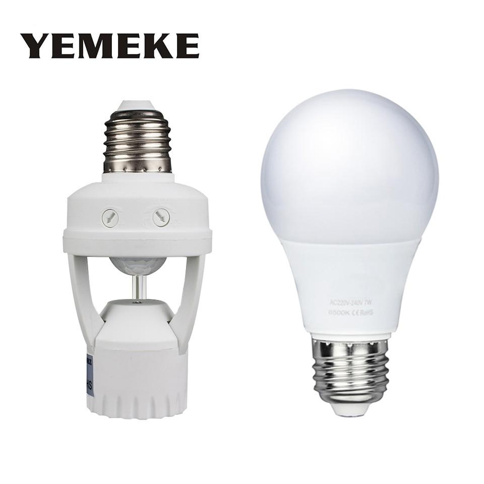7 W 9 W 15 W PIR Motion Sensor Led Lampe E27 support de lampe 220 V LED Ampoule Infrarouge Induction Humen Corps Mouvement Led Lampe Nuit lumières