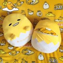 Kawaii mão warmer gudetama ovo preguiçoso travesseiro cobertor de pelúcia de ovos com pessoal jun gema de ovo irmão boneca de brinquedo bonito macio travesseiro almofada