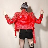 Европа DJ моды панк заклепки мотоцикл кожаная куртка женский ночной клуб красная куртка личности рокер заклепки Уличная Куртки