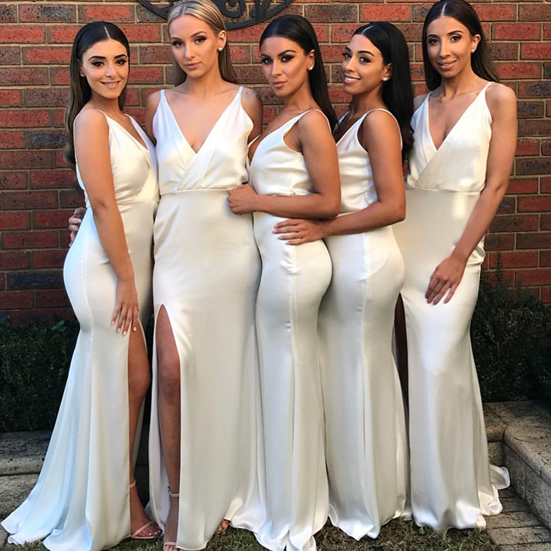 White Mermaid   Bridesmaid     Dresses   2019 Long V-Neck Party Gown Women Robe Demoiselle honneur Slit Women Formal   Dress