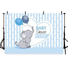 Backdrop photographic studio pink blue stripes elephant baby shower girl boy balloons background original design photocall
