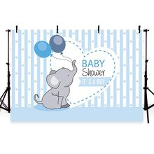 Backdrop photographic studio pink blue stripes elephant baby shower girl boy balloons background original design photocall(China)