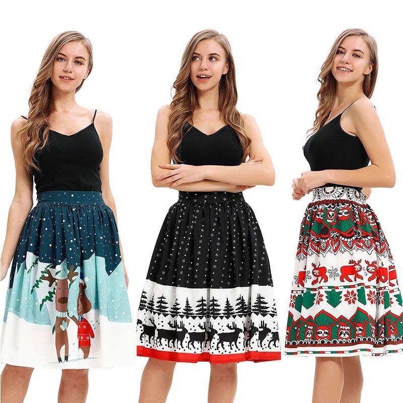 Cute Christmas Deer Print Flared Skater Swing Skirt Ladies X-mas Midi Carnival Party Waist Elastic Band Skirt For Women Red