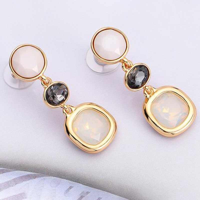 2018 New Dangle Long Earrings Fashion Jewelry Charms Colorful Crystal Resin Beads Stone Drop Earrings For Women Girl