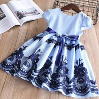 Everweekend Girls Floral Embroidered Stripes Party Dress Bow Dress Ruffles Sweet Princess Vintage Blue Holiday Dresses