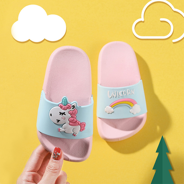 Summer Unicorn Slippers for Boy Girls Rainbow Shoes Cartoon Kids Slippers Todder Animal Indoor beach Baby Slippers home PVC