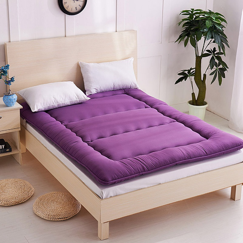 Breathable Mattress Polyester Fiber Comfortable Foldable Single Double Bed Mattress Topper Quilted Bed Bedding Mat Cushion