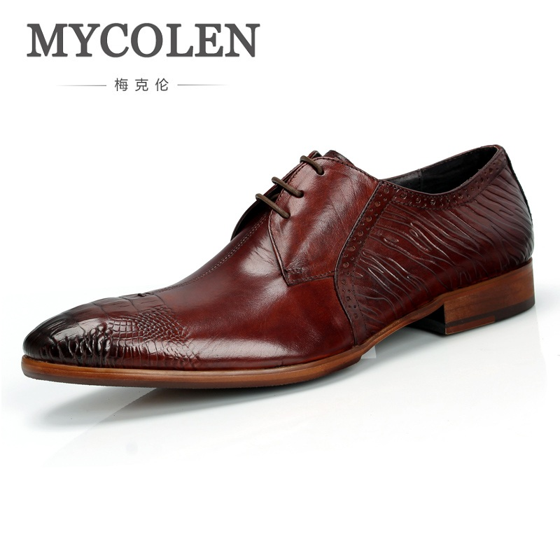 MYCOLEN Men Leather Dress Shoes Fashion Genuine Leather Wedding Shoes Breathable Business Lace-Up Pointed Low Shoe Mens Oxfords patent leather men s business pointed toe shoes men oxfords lace up men wedding shoes dress shoe plus size 47 48