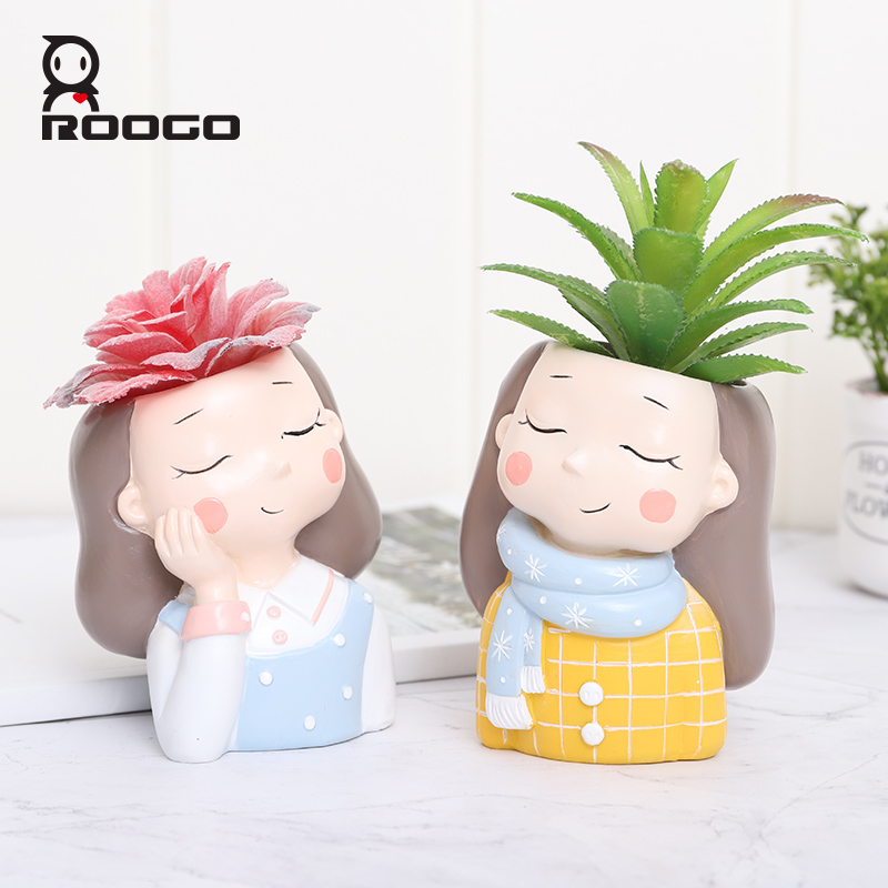 Roogo FlowerPot For Home Decoration Pink Plant Pot Garland Girl Orchid Pot For Wedding Decor Succulent Pot Plant Home Garden in Flower Pots Planters from Home Garden