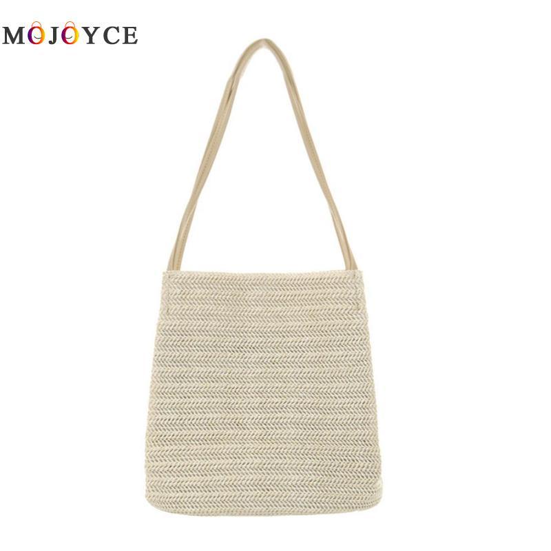 Women Summer Beach Straw Shoulder Bag Large Capacity Shopping Casual Totes Brand Designer Ladies Handbags