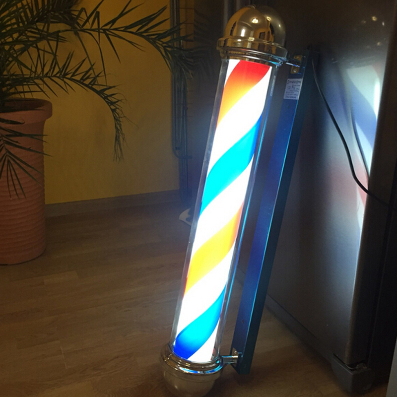 317D pattern Roating Stainless steel Barber Pole with lamp beauty Salon Equipment AUTOMATIC ROTATION BARBER SIGN