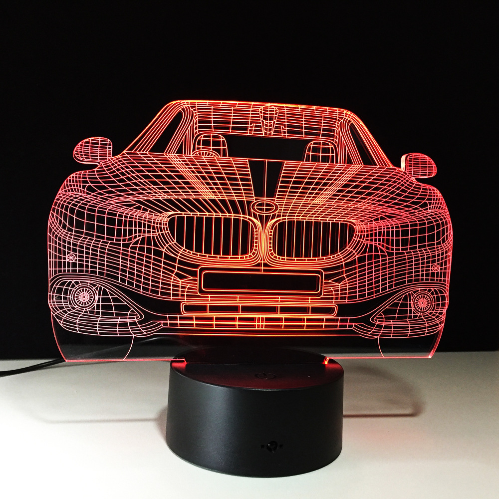 LED Car 3D Illusion Lamp 7 Color Changing LED Luminaria Night Light Decor Lamp Bedroom Lighting for Boy Girls Toy Brithday Gift