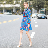 Milan Catwalk New High Quality Runway Designer 2018 Autumn Fashion Women'S Party Office Girls Flower Print Long Sleeved Dress