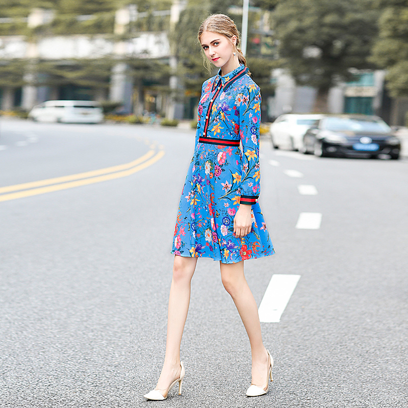 Milan Catwalk New High Quality Runway Designer 2018 Spring Fashion Women'S Party Office Girls Flower Print Long-Sleeved Dress