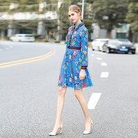 Milan Catwalk New High Quality Runway Designer 2018 Autumn Fashion Women'S Party Office Girls Flower Print Long Sleeved Dress