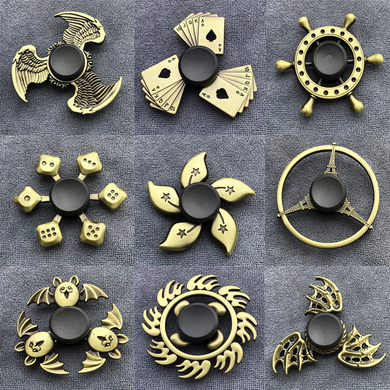 Bronze Gear Hand Spinner Finger Fidget Spinner Toy Thor Hammer Eiffel Tower Alloy Metal Hand Tri Spiner Ring Hobbies For Adults