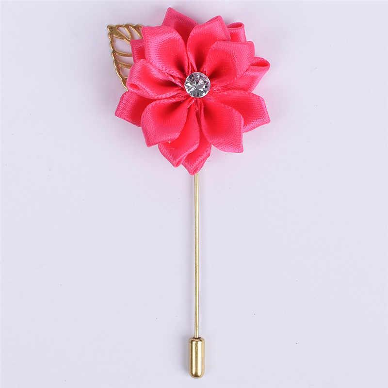 Flor de satín rosa de seda con flor de Metal y hoja dorada para el novio, accesorios de boda para hombre, broche de ramillete para Traje De Hombre de graduación XH889Z