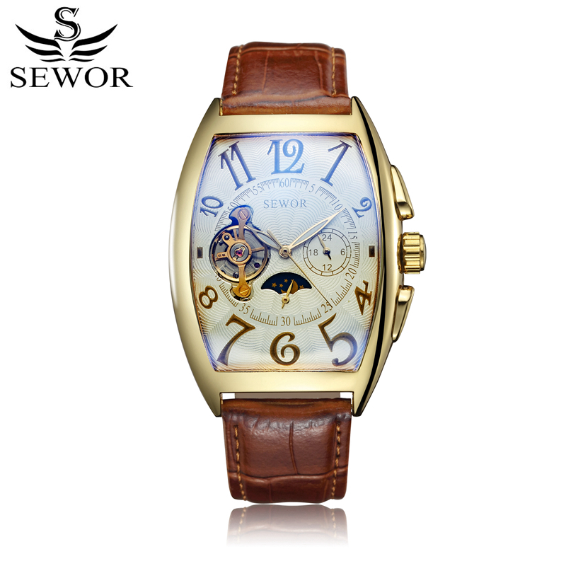 SEWOR Skeleton Watch Mechanical Automatic Self-Wind Leather Bracelet Moon Phase Men Luxury Man Watches With Box SWQ44 k colouring women ladies automatic self wind watch hollow skeleton mechanical wristwatch for gift box
