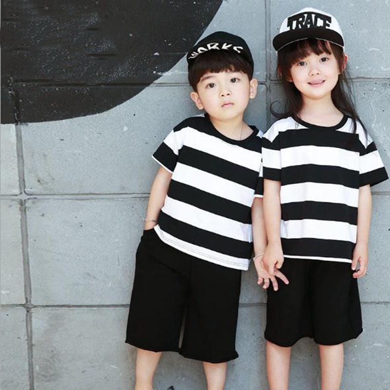 цена Summer Children Clothing Set Suit Cotton Boys Girls Striped Short-Sleeved T-Shirt Small Big Child Wide Leg Shorts Kids Clothes