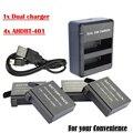 4x3.8 V Батареи AHDBT-401 GoPro Hero 4 Go Pro Hero4 bateria AHDBT401 + Dual USB Зарядное Устройство Для GoPro Hero 4 действий Камеры батареи