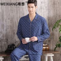 High Quality Twinset 100 Cotton New 2016 Autumn Pajama Sets Plaid Pijama Men Woven Rayon Pajamas