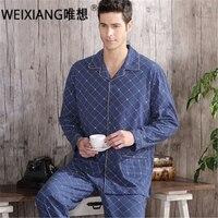 High Quality Twinset 100 Cotton New 2016 Autumn Pajama Sets Plaid Pijama Men Woven Rayon Pajamas
