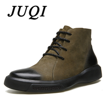JUQI New Arrival Men Chelsea Boots Gradual Trend Color Ankle Male Genuine Leather Mens Cowboy Western Martin