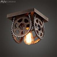 ギアヴィンテージ工業用ledシーリングライト飾り天井ランプ用ホームリビングルームライト天井照明器具の寝室のランプ -