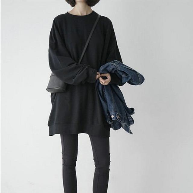 2016 New Hot Autumn Ulzzang Hedging Loose Sweatshirt Women Long Sleeve Plus Size M-3XL Harajuku Casual Thin Sweatshirts Hoodies