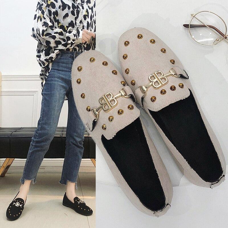 Chaussures Dames Fond Mocassins Khaki black Suede Ballerines Simples Vantage Style apricot Automne Appartements Corée Carré Bout Mou Mode Femmes zwB0xvq