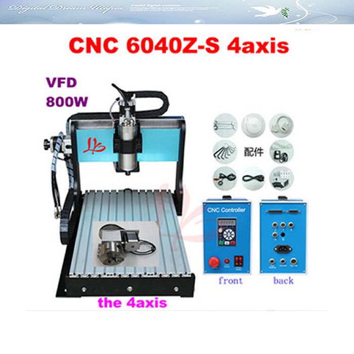 Factory sale! 4 Axis CNC Router 6040 3d Engraver Machine with limit switch, 800W water Cooled spindle aluminum cnc machining  hot sale mini cnc engraver cnc router aluminum