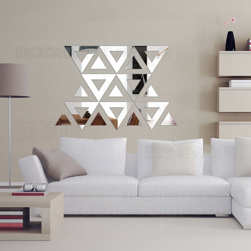 DIY Triangle Free Design 3D Decorative Acrylic Mirror Wall Stickers Living Room Bedroom Home Decor Decoration Art R160 In From