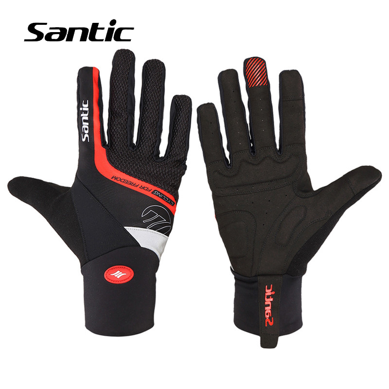 Santic Winter Cycling Gloves Thermal Men Full Finger Bike Gloves Padded Shockproof Sport Bicycle Racing Gloves