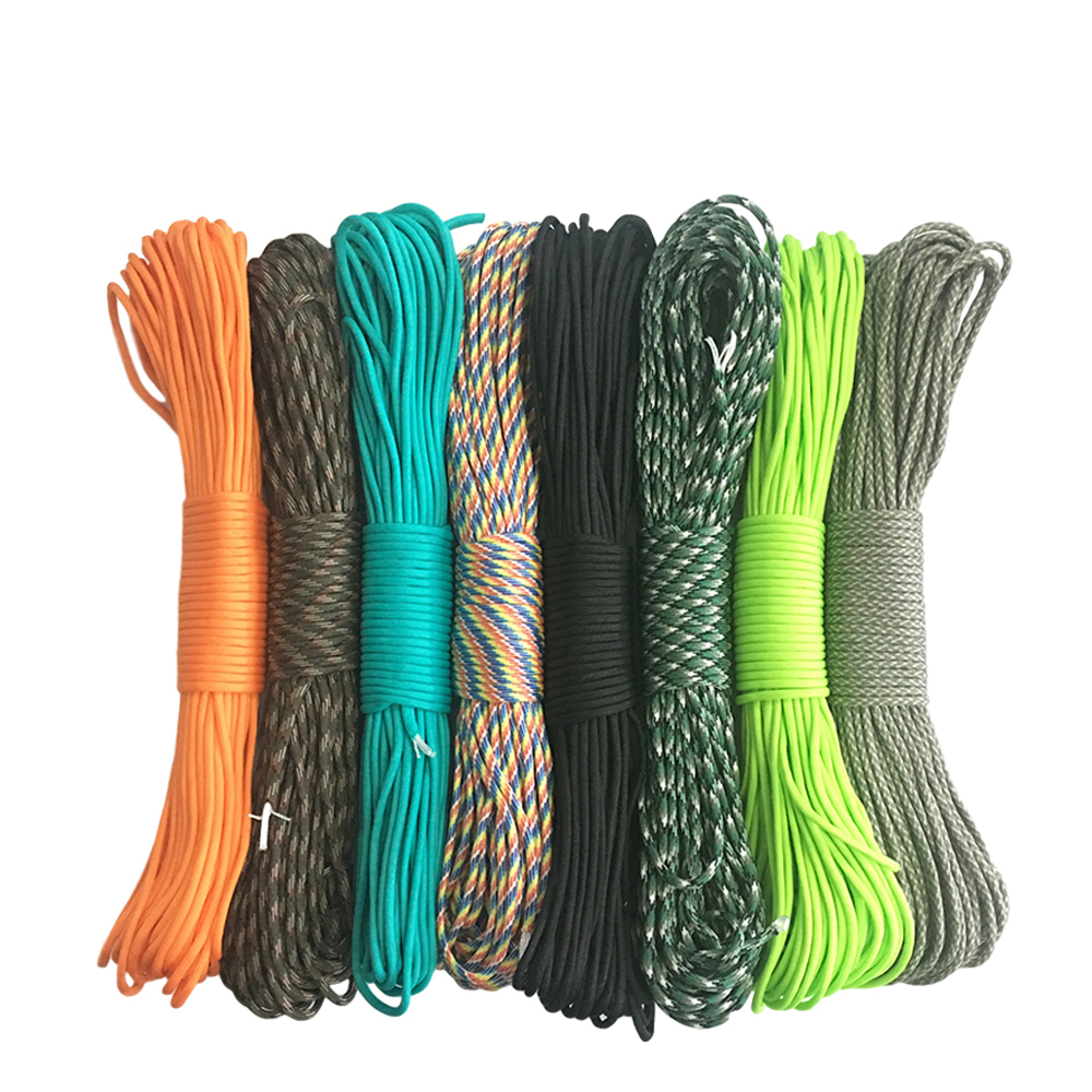 цена на 550 Paracord Parachute Cord Lanyard Tent Rope Guyline Mil Spec Type III 7 Strand 50FT 100FT For Hiking Camping 215 Colors