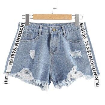 Pantalones cortos de tela vaquera Lychee con letras estampadas para verano para mujeres, pantalones cortos de tela vaquera con botón, pantalones cortos holgados informales de estilo Punk de Harajuku con bolsillos