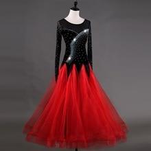 Ballroom Dance Dresses Long Sleeve foxtrot Dancing Skirt  Women Stage Waltz Dress red MQ026