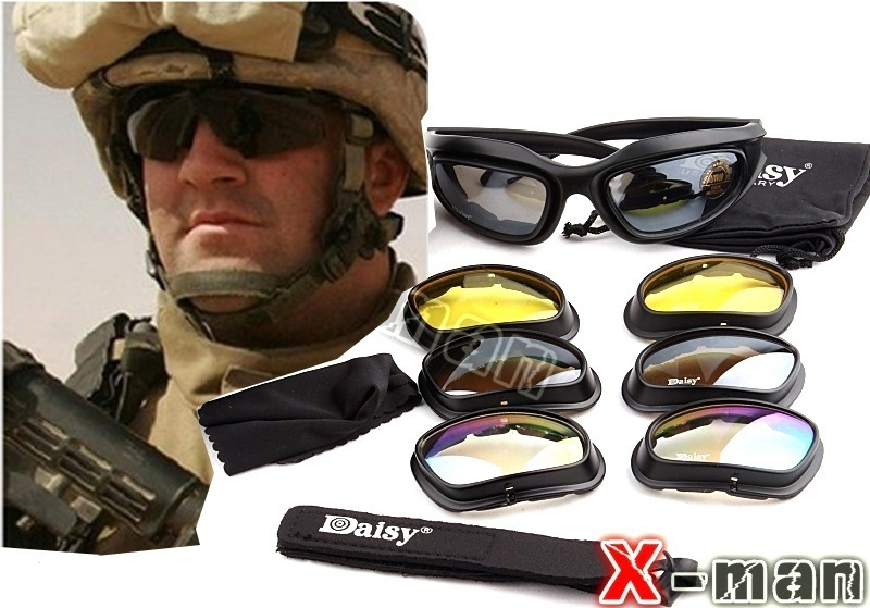 Hunting C5 Desert Storm Sunglasses 4 Lenses Goggles Tactical Eyewear Cycling Riding Eye Protection