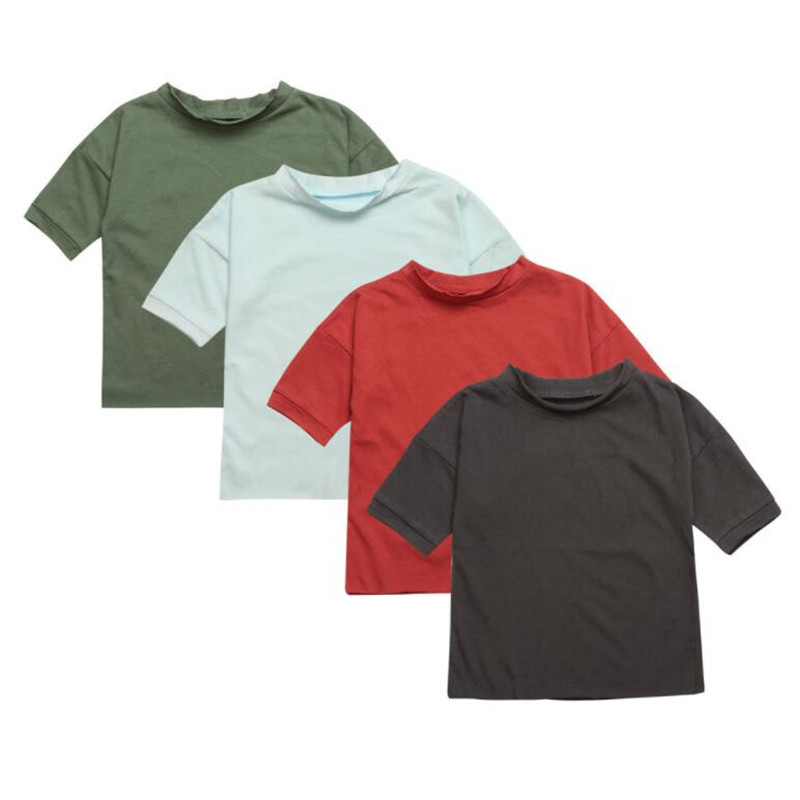 T-Shirts Sports Boys Cotton Children Summer Solid Fashion for New