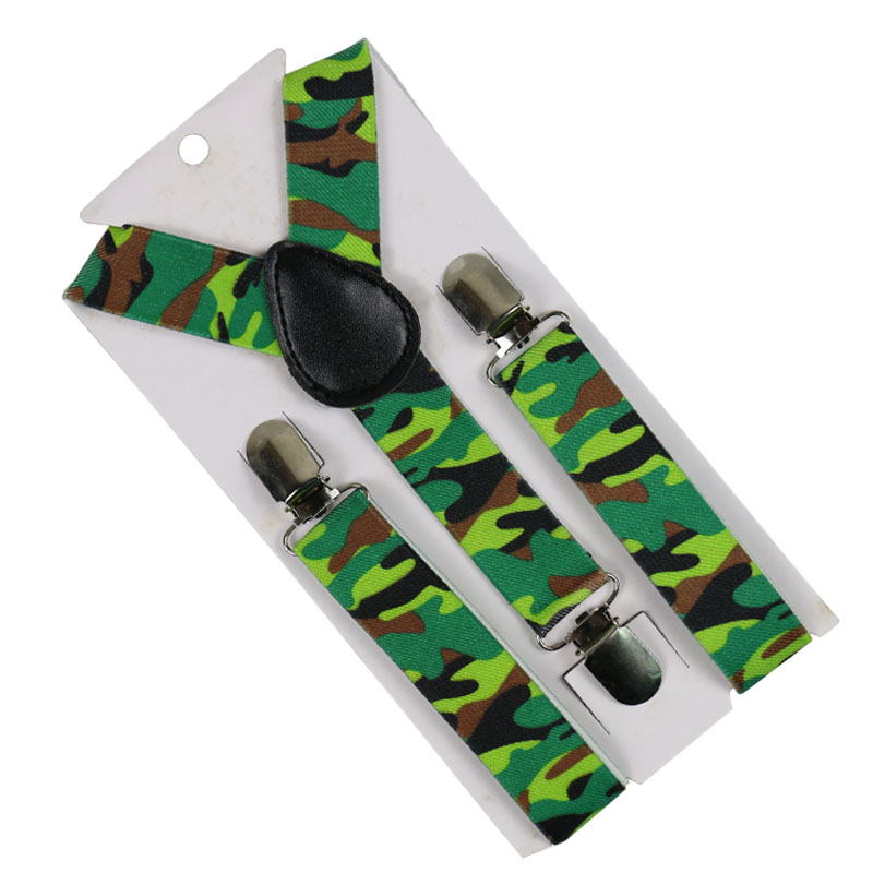 HUOBAO Fashion 2.5cm Wide Camouflage Print Suspenders Baby Boys Suspenders Clip-on Y-Back Braces Elastic Kids Suspenders