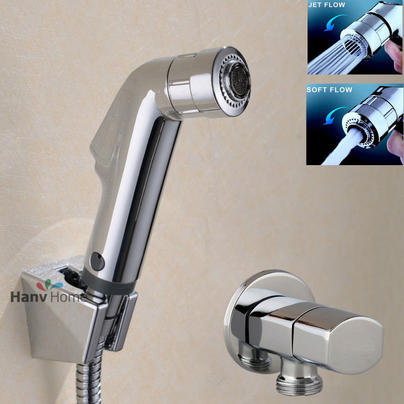цена на Toilet Bathroom Hand Held Bidet Spray Diaper Shower Sprayer Set Portable Shattaf Jet Douche kit &Angle Valve & Hose & Holder