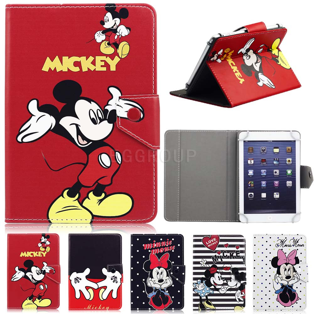 Hot 7 Universal PU Leather Stand Protector Cover Case Skin For 7 Inch tablet PC Cute Mickey Minnie Protective Shell DTP07C8N
